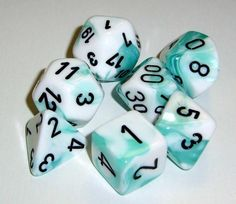 FRP GAMES - PRODUCT - Chessex RPG Dice Sets: Gemini 4 Poly White Teal/black Polyhedral 7-Die Set
