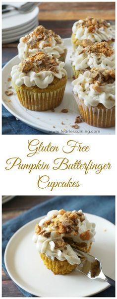 Gluten Free Pumpkin Butterfinger Cupcakes