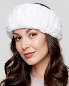 03727f5eb738b Stand out with a stunning Knit Rex Rabbit Fur Headband in White for the  fashionable woman s