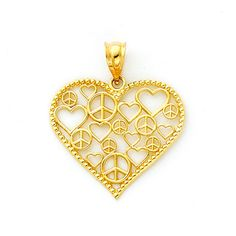 14K solid gold scattered Hearts & Peace Signs Luck n Love Heart Pendant. Measures 1 x 7/8. Made to order. Free shipping