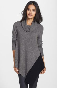 Eileen Fisher Asymmetrical Colorblock Yak & Merino Cowl Neck Poncho (Regular & Petite) available at #Nordstrom