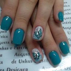 37 Cute Butterfly Nail Art Designs Ideas You Should Try - Nails - Nail Art Ideas Butterfly Nail Designs, Butterfly Nail Art, Colorful Nail Designs, Nail Art Designs, Blue Butterfly, Nails Design, Butterfly Images, Pink Design, Floral Design