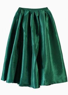 Sheinside.com Flare Pleated Midi Skirt in dark emerald green or fuchsia $15.90