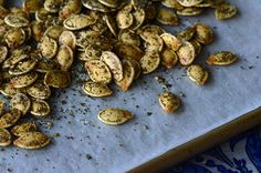 These za'atar roasted pumpkin seeds make the perfect fall snack.