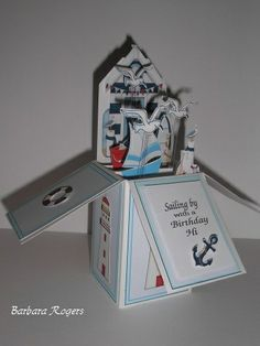 3 D card using beach hut and nautical images