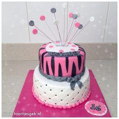 Pink silver white zebra Sweet 16 cake