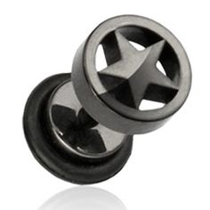 Surgical Steel Over Black Anodized Plated Fake Plug With Star Loop Top Myles Hardy Diffe Earrings For Men