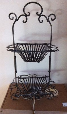 2 Tier Metal Fruit Basket Stand Tray Kitchen Crafts Brown