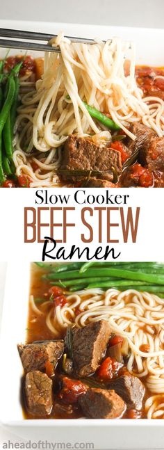 It's soup and slow cooker season! Add some noodles to your beef stew and transform it into the most amazing, flavourful slow cooker beef stew ramen.| aheadofthyme.com