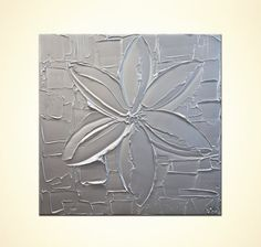 Silver Abstract Painting  Acrylic  Modern Art by OsnatFineArt