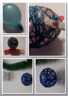 Bolas para el árbol de navidad hechas con lana y globos
