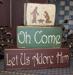 Collins Winter-Themed Wood Block Shelf Sitter Sign Merry Christmas