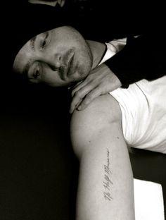 Aaron Paul's BB tattoo on left collar bone or right wrist
