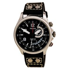 Fossil FS5042 Gent's Black Dial Black Leather Band Alarm GMT Watch,    #Fossil,    #FossilFS5042