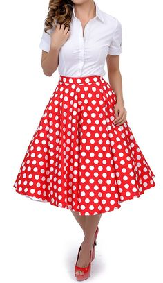Lolichy 1950s Style Red White Polka Dot Mariam Swing Circle Skirt S
