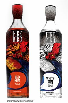 "Label For Fire Bird White/Red Rum - The brief was to design a label with a local flavor for a local rum brand so we based our concept on the ""Sri Lankan jungle fowl"" which is indigenous to Sri Lanka. It's local name has a connotation of battle This is in line with the history of the name Rum which came from the word rumbullion."