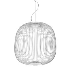 Foscarini's Spokes 2 pendant light features a stunning, lightweight shade that brings in mind aviaries, antique oriental lanterns and, from down below, spokes. The designers, Vicente García Jiménez and Cinzia Cumini, were inspired by the graphical nature of bicycle wheels and named the pendant after their delicate metal parts.