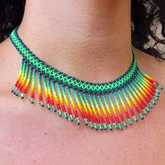 Mexican handmade choker by Mexican artisans Huichol choker mexico handmade handmade choker prehispanic huichol beaded choker chaquira Seed Bead Necklace, Seed Bead Jewelry, Bead Jewellery, Beaded Anklets, Beaded Choker, Beaded Earrings Patterns, Ankle Chain, Beaded Collar, Fabric Jewelry