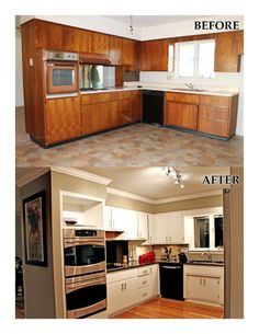Our kitchen remodel... [before and after] Refinished cabinets and new hardwood floors. Renovations done by my husband! :)