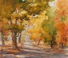 A painting demonstration from Watercolor Landscape Painting Essentials with Johannes Vloothuis. Click the image for 11 Q&A's with the artist! Watercolor Paintings For Beginners, Watercolor Landscape Paintings, Watercolor Trees, Landscape Drawings, Easy Watercolor, Watercolor Techniques, Painting Techniques, Landscape Art, Watercolour