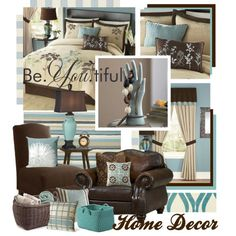 """master bedroom teal and beige modern french   Teal Brown and Beige Home Decor"""" by queenrachietemplateaddict on ..."""