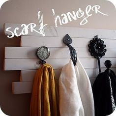 Super cute coat rack and scarf hanger.  Great DIY project and instructions