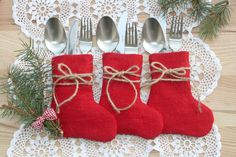 Holiday Table DecorChristmas Rustic Silverware by HameleonShop
