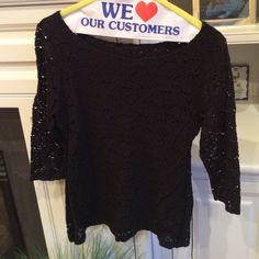Lace overlay top Black 3/4 length sleeve Banana Republic Tops
