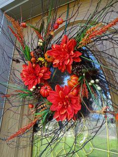 Thanksgiving Wreaths, Thanksgiving Decorations, Autumn Decorations, Indoor Wreath, Outdoor Wreaths, Autumn Wreaths For Front Door, Holiday Wreaths, Twig Wreath, Floral Wreath
