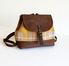 Cork and Harris Tweed Backpack / Yellow Tartan Small Backpack / Travel Bag / Gift Idea for Women