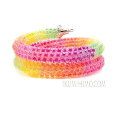 Luminous Beaded Kumihimo Memory Wire MultiWrap by Ikumihimo, $70.00