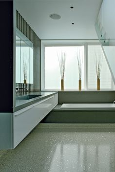 Love all the space and the position of the bath tub..  Love the floor.