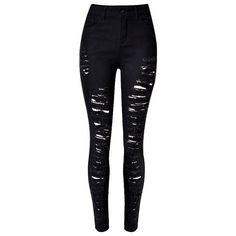 Black Distressed Mid-Waist Skinny Jeans Lookbook Store ($25) ❤ liked on Polyvore featuring jeans, pants, bottoms, calças, destroyed jeans, sexy ripped jeans, torn skinny jeans, distressed jeans and sexy jeans