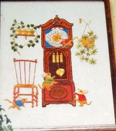Vintage 'Hickory Dickory Dock' crewel embroidery  kit, unknown date and maker.