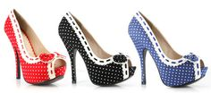 Polka Dot Bow Heel Only $49.99 #thevioletvixen #retro http://www.thevioletvixen.com/collections/shoes/products/polka-dot-bow-heel