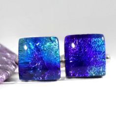 Dichroic Glass Cufflinks in Purple, Blue and Turquoise, Mens Jewelry   ResetarGlassArt - Jewelry on ArtFire