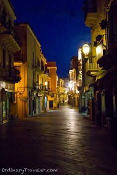 Dusk in Taormina Sicily. I remember walking up these streets at night/am walking home after great nights out