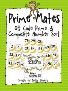 Here's a fun little monkey-themed prime and composite number sort. Your kids will love scanning the QR codes when they're finished sorting to self. Common Core Curriculum, Common Core Math, Math Stations, Math Centers, Prime And Composite Numbers, Prime Numbers, Fifth Grade Math, Fourth Grade, Math Tools