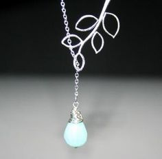 Silver Leaf Branch with Stone Necklace Lariat by smilesophie