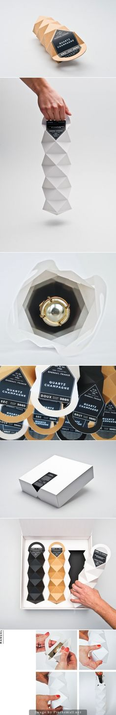 Quartz Champagne by Max Molitor & Cajza Nyden. Sweden.  Champagne is not supposed to be stored standing up.  The designers used this as the basis for the package design.  Designing the package so it won't allow the bottle to be stored upright is smart.All of the angles create this very interesting shape/form that is very appealing. The packaging is so interesting that the very minimal but succinct  label just accentuates the overall design.