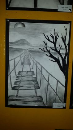 Grade 7 -charcoal and pencil one point perspective drawing