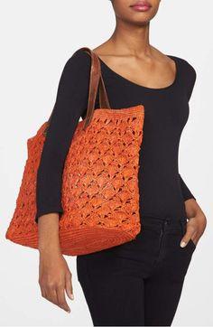 Alternate Image 2 Selected - Mar y Sol 'Valencia' Crocheted Raffia Tote Crochet Market Bag, Crochet Tote, Crochet Handbags, Crochet Purses, Hand Crochet, Knit Crochet, Crochet Shell Stitch, Knit Basket, Diy Tote Bag