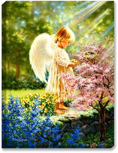 Glow Decor - An Angel's Tenderness - Illuminated Fine Art by Dona Gelsinger - 1