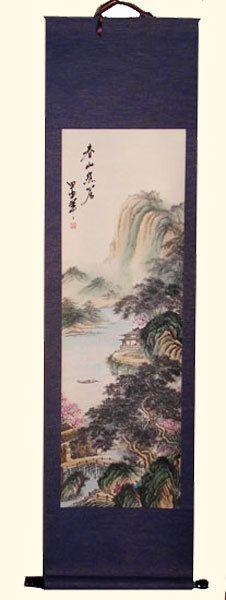 Oriental Furnishings - Chinese Silk Scroll: Mountain Lake Retreat, $83.00 (http://www.orientalfurnishings.com/chinese-silk-scroll-mountain-lake-retreat/)