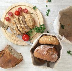 Natural linen basket bread basket hand woven picnic basket