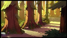 One of the BG's that I painted for the Gravity Falls intro! Ink and layout by the amazing Ian Worrel.