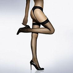Classically sheer, strikingly beautiful, sinfully silky to the touch, these barely-there stockings are very sexy. Pair with your fave suspender belt and take on the world.