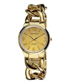 Loving this Gold Link Bracelet Watch on #zulily! #zulilyfinds
