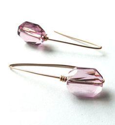 Rose Gold Filled Swarovski Light Rose Crystal Drop