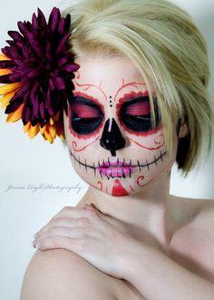 Sugar Skull Makeup, Red & Black